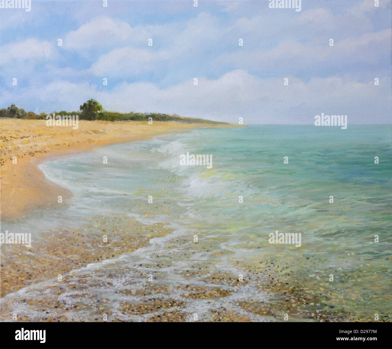 an oil painting on canvas of the sandy beach near village krapets in