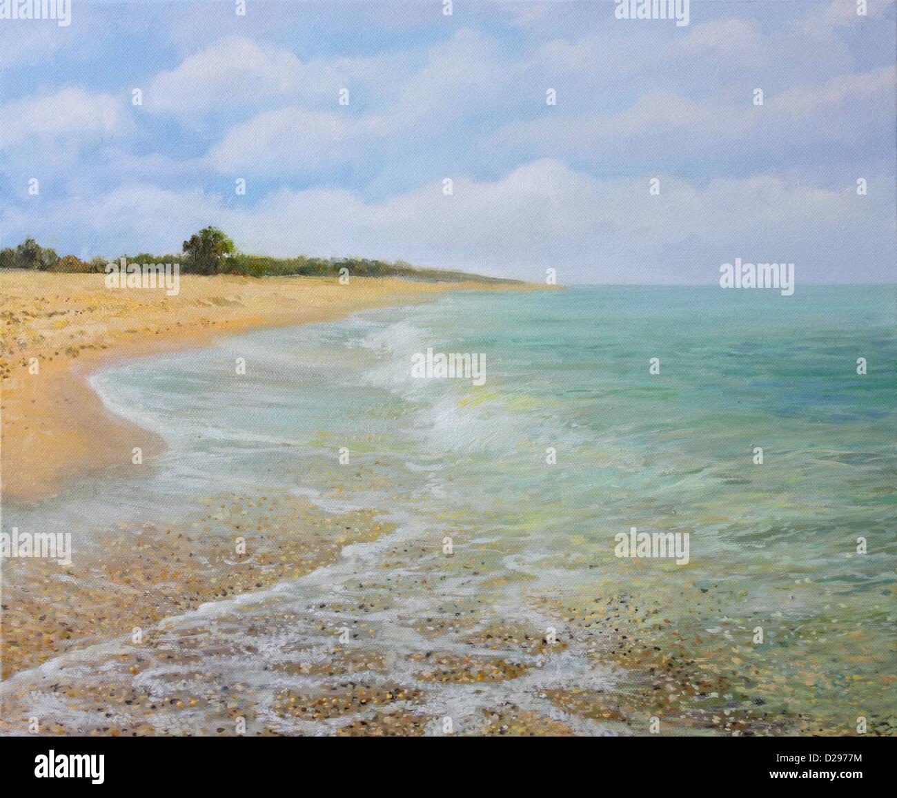Sandy Beach: An Oil Painting On Canvas Of The Sandy Beach Near Village