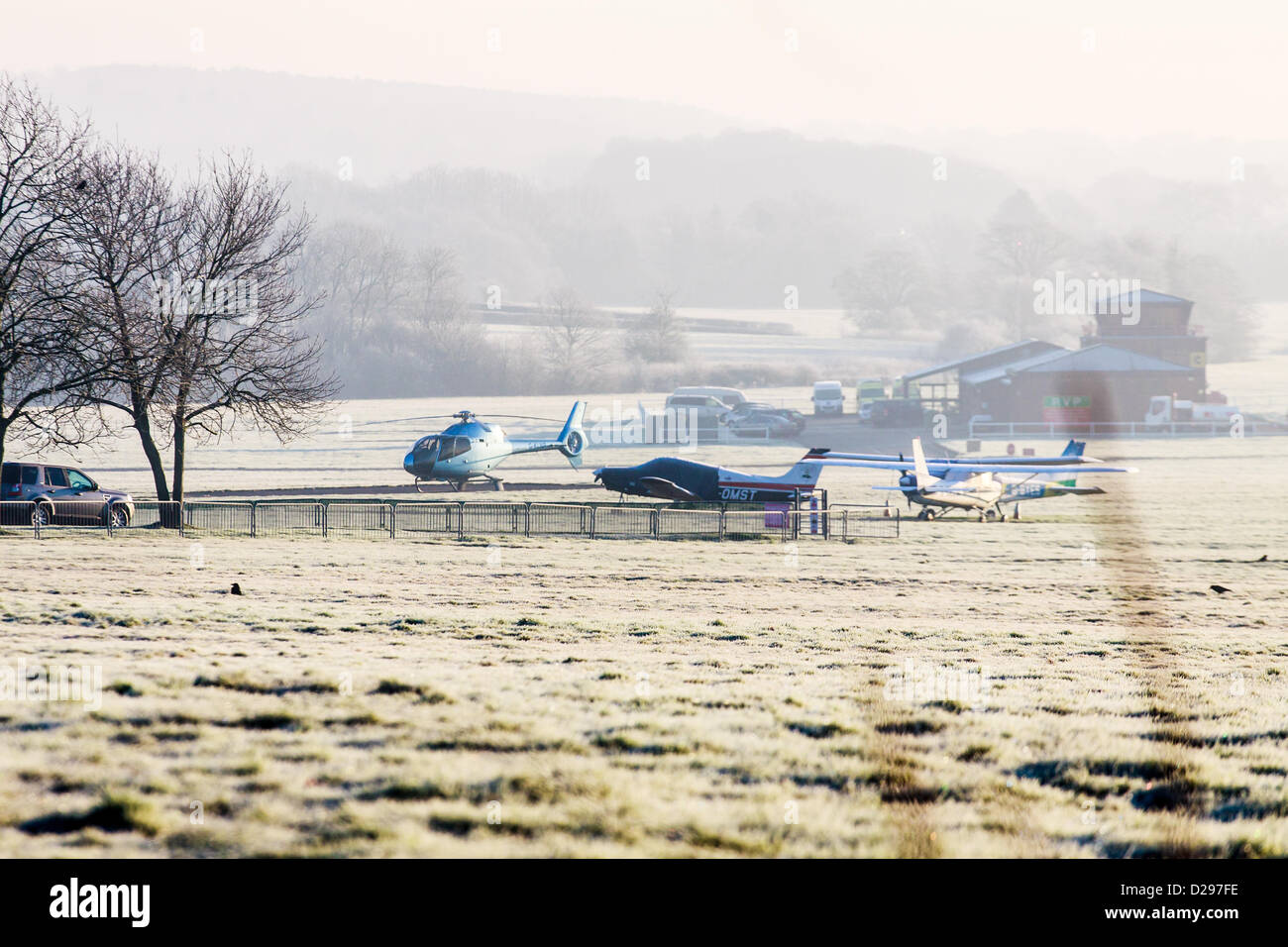 Surrey, UK. Thursday 17th January 2013.  Redhill aerodrome on a frosty misty morning the starting point for the - Stock Image