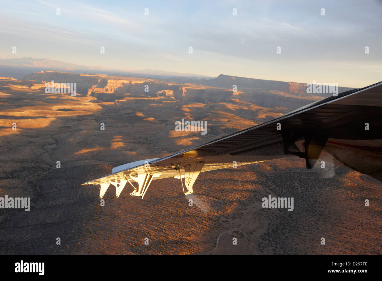 flying over land approaches to the rim of the grand canyon Arizona USA - Stock Image