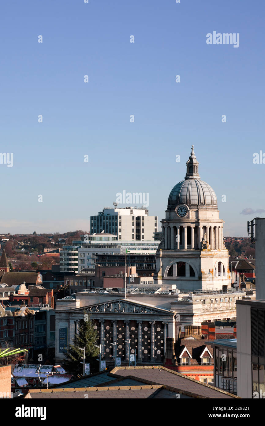 Overlooking Nottingham City Hall and Market Square, Nottingham, Nottinghamshire, Notts, England - Stock Image