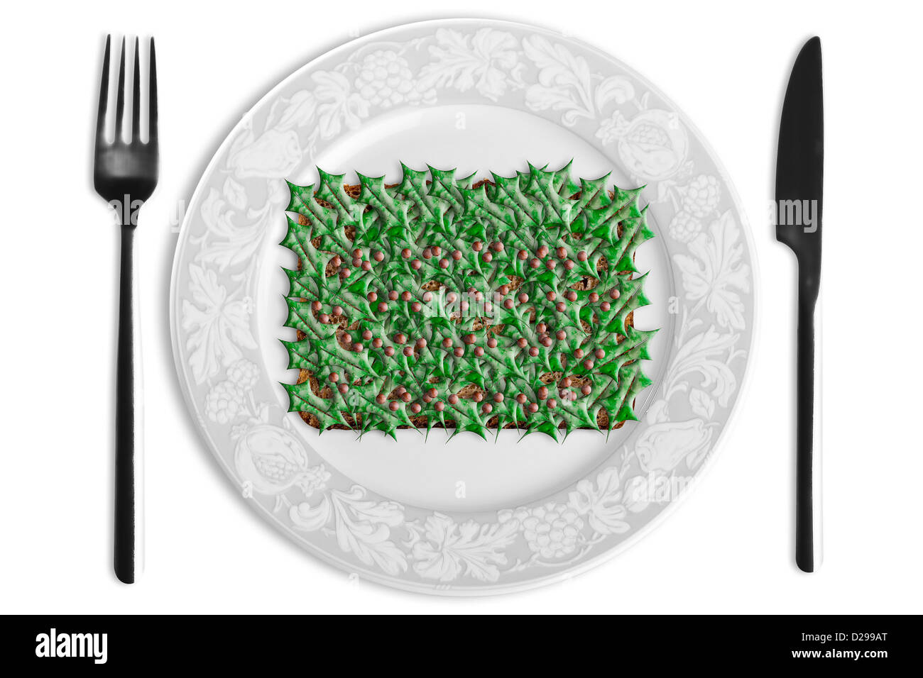 Open sandwich with synthetic holly - Stock Image