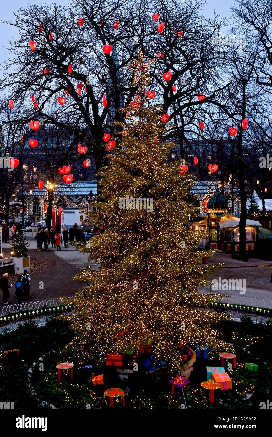 The Christmas tree in Tivoli Copenh - Stock Image