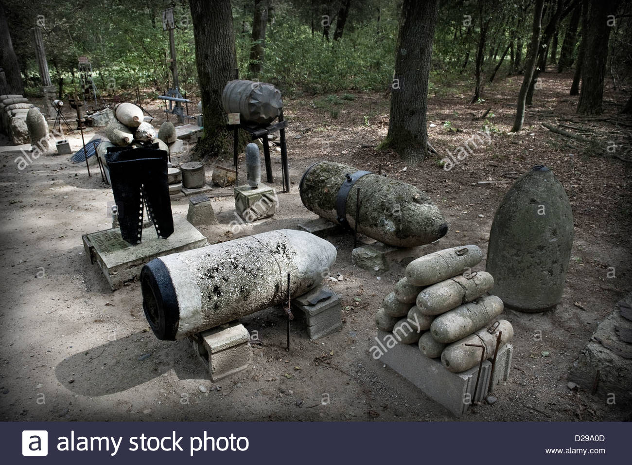 Italy,Lombardy,Lonate Pozzolo,Via Gaggio historical road,military museum,bombs - Stock Image