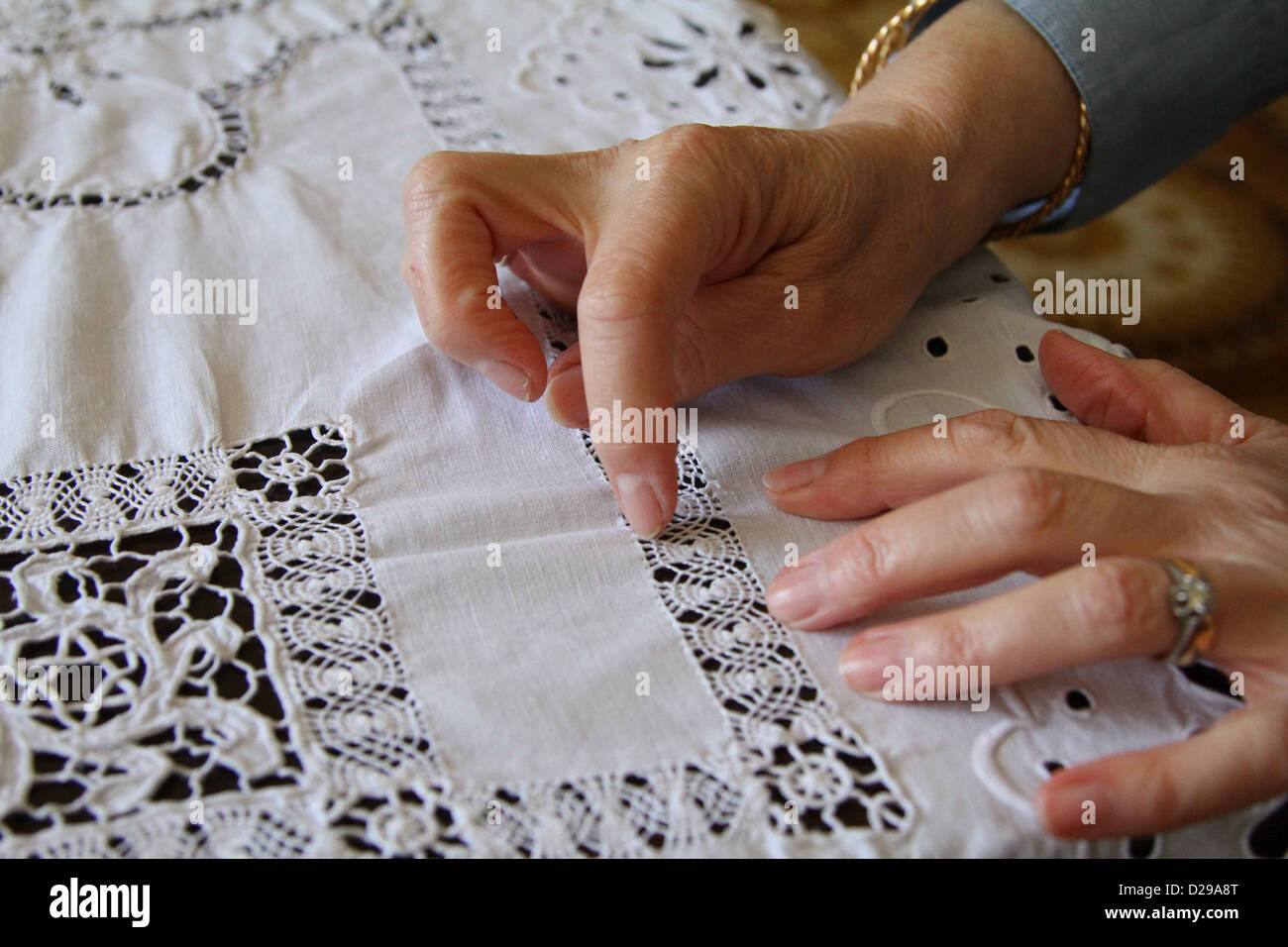 A hand Embroidered tablecloth from the previous century made in Tripoli, Libya, A Jewish Star of David is hidden - Stock Image
