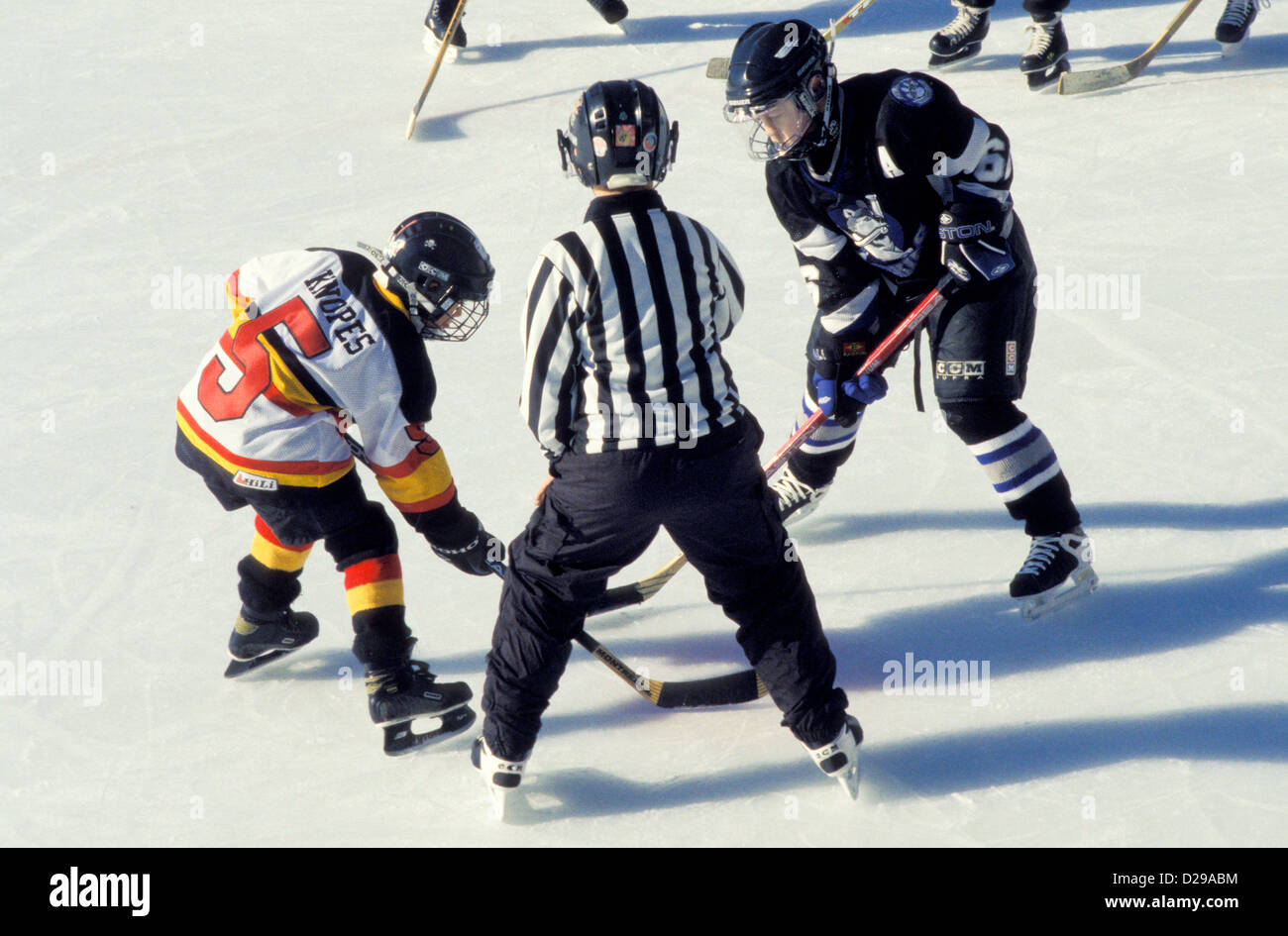 Youth Hockey Faceoff. - Stock Image