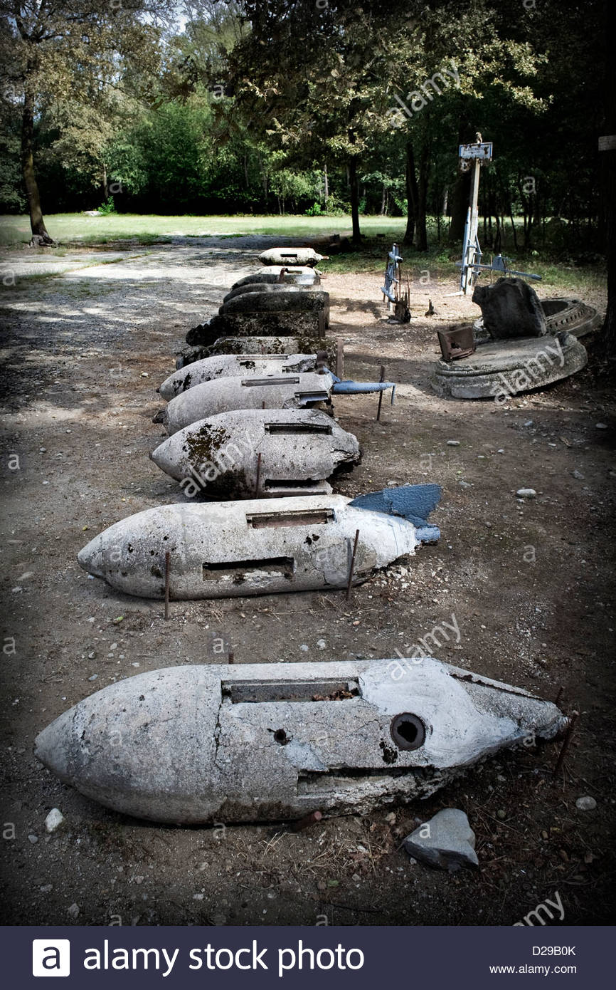 Italy,Lombardy,Lonate Pozzolo,Via Gaggio historical road,historical museum,bombs - Stock Image