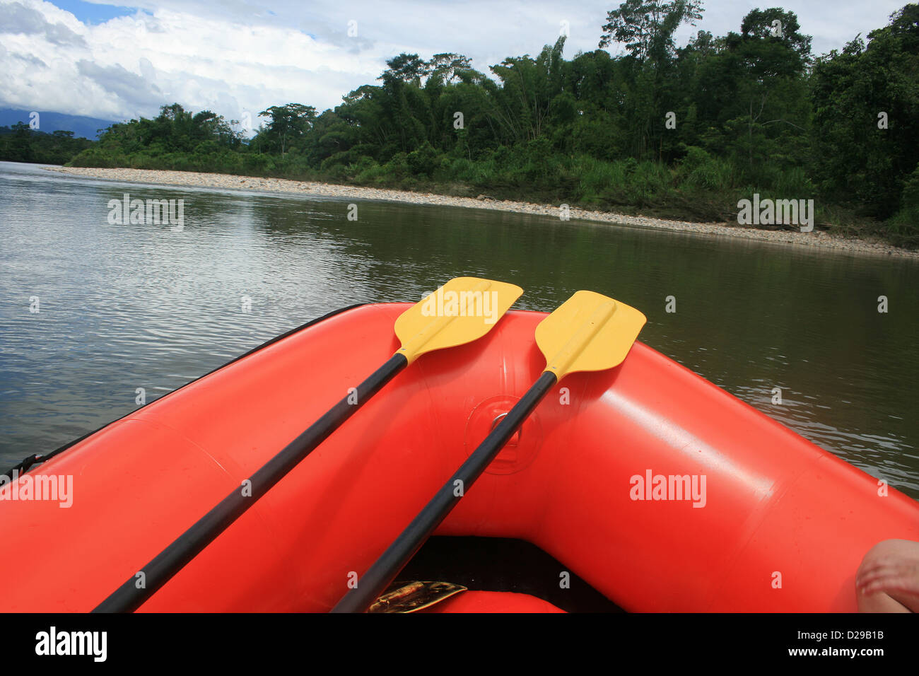 Paddles lying acoss the bow of a rubber raft on the Napo River in the jungle of the Ecuadorian Rain Forest near - Stock Image