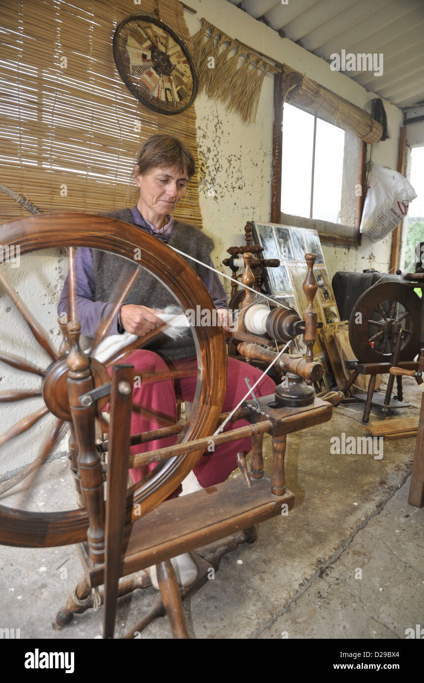 Old Fashioned manual wool spinning wheel Stock Photo