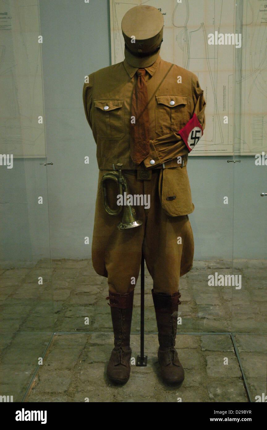 SA (Sturmabteilung) uniform. Nazi paramilitary group. Sachsenhausen concentration camp Museum. Oranienburg. Germany. Stock Photo