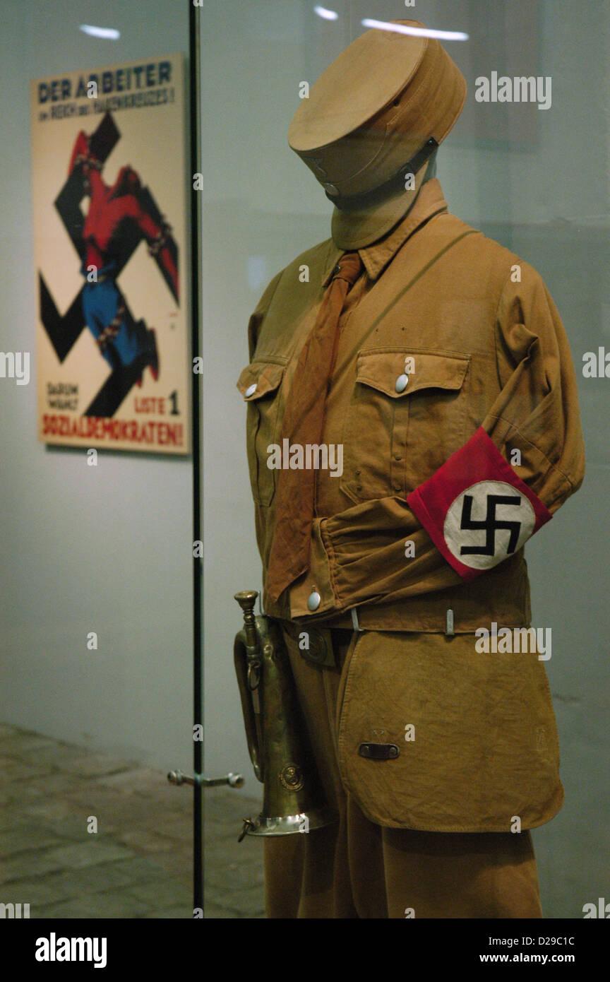 SA (Sturmabteilung) uniform. Nazi paramilitary group. Sachsenhausen concentration camp Museum. Oranienburg. Germany. - Stock Image