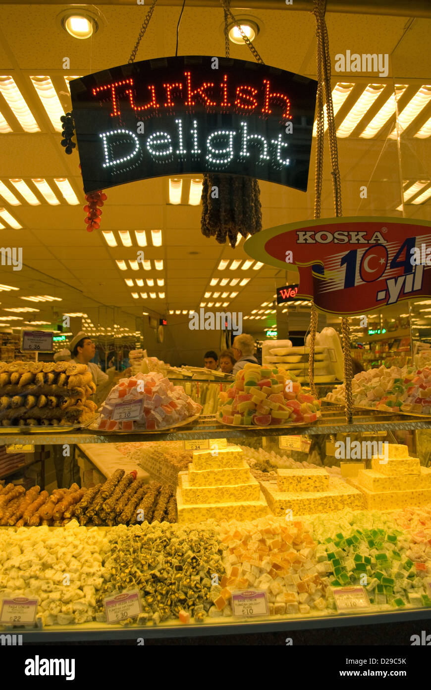 Sweets including Halva on display in Turkish sweet shop in Istanbul. - Stock Image