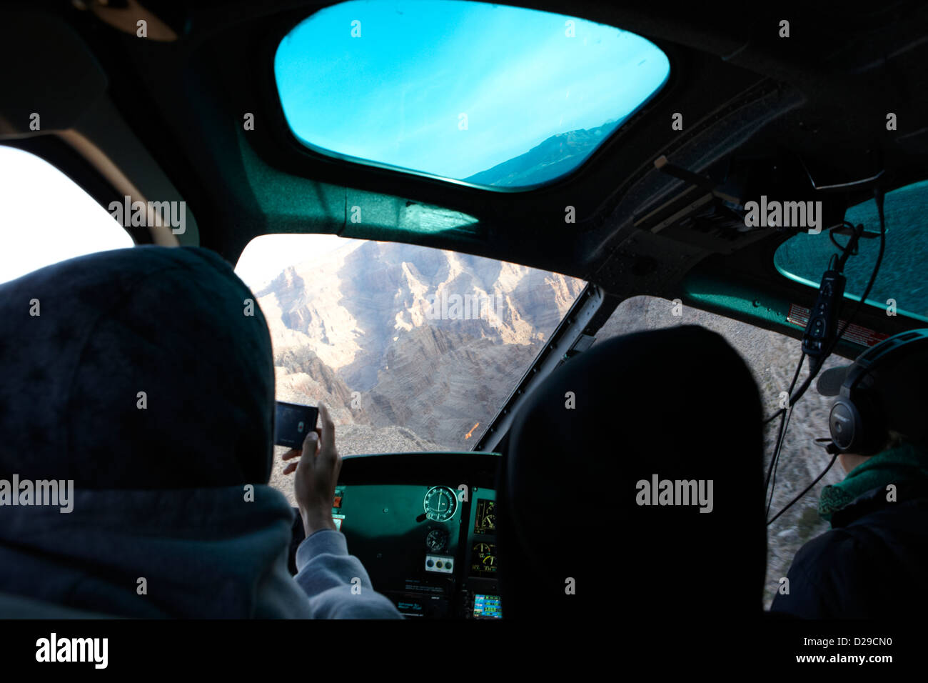 on board papillon helicopter tour flying into Grand canyon Arizona USA - Stock Image