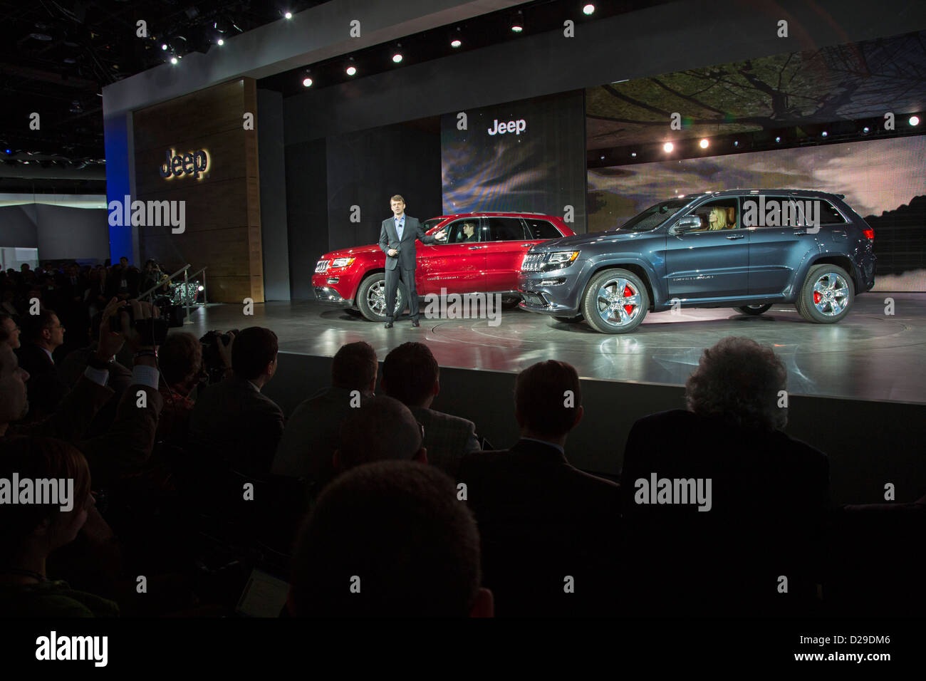 Michael Manley, introduces Jeep Grand Cherokee models in 2013. Manley was appointed CEO of Fiat Chrysler Automobiles Stock Photo