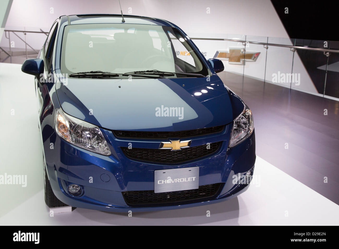 The Chevrolet Sail on display at the North American International Auto Show. - Stock Image