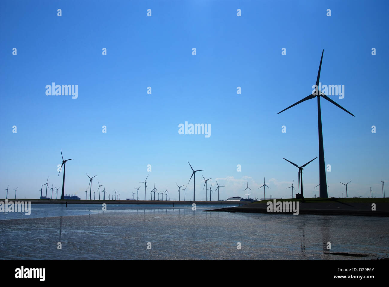 Wind farm in the flatlands of northern Netherlands Stock Photo