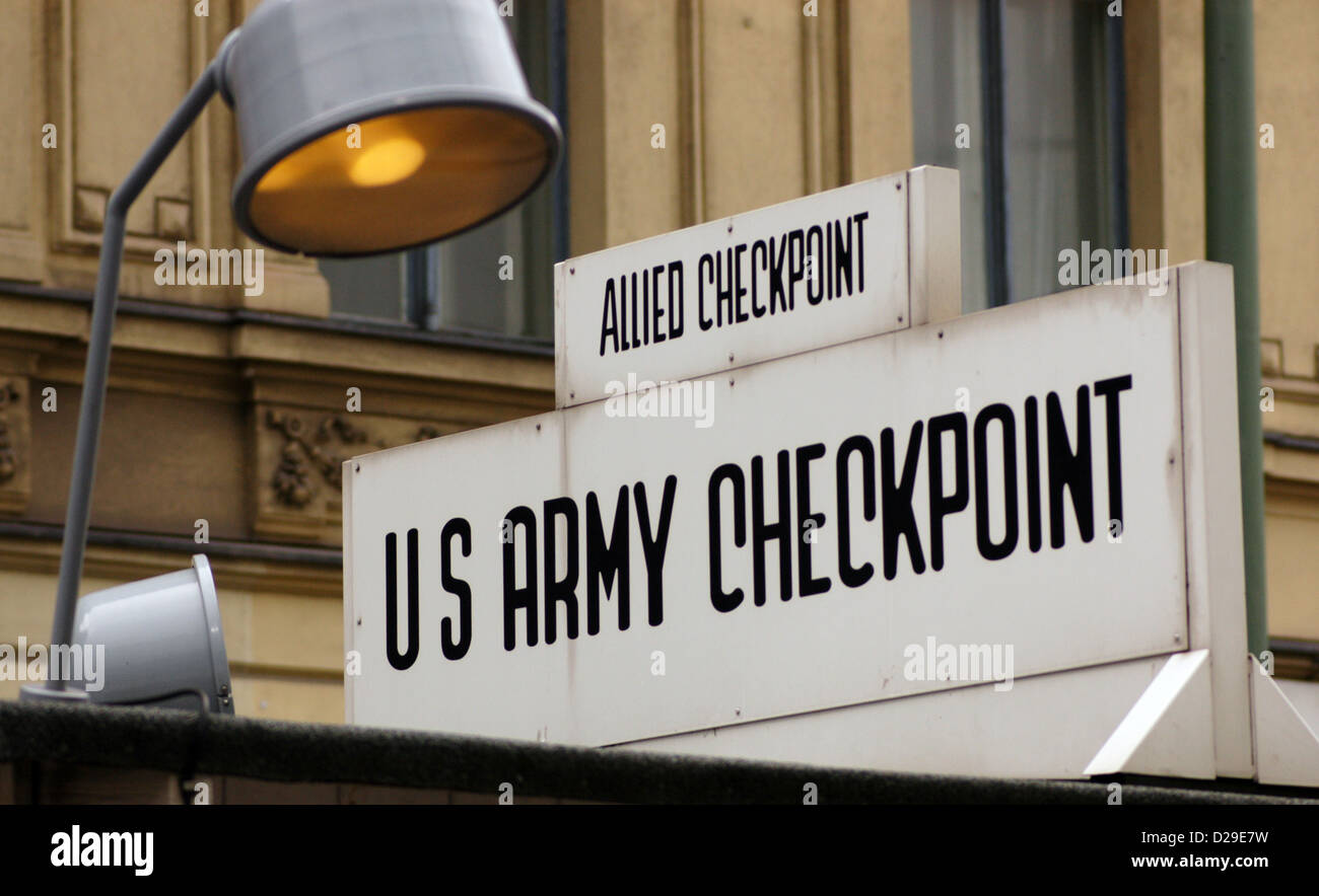 Checkpoint Charlie. The most famous of the crossing points of the Berlin Wall. Berlin. Germany. Stock Photo