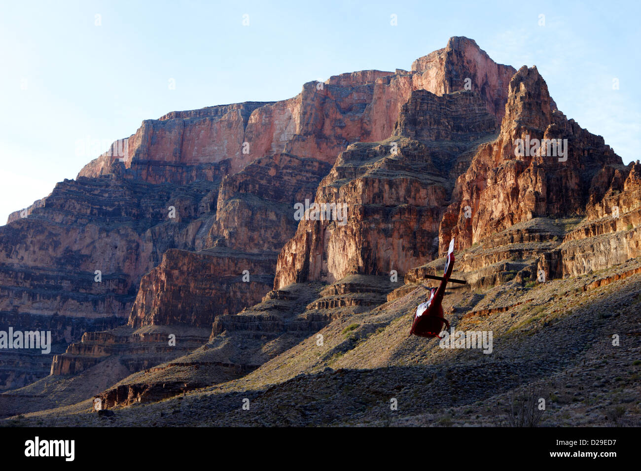 helicopter tours flying through the Grand canyon Arizona USA motion blur in flight - Stock Image
