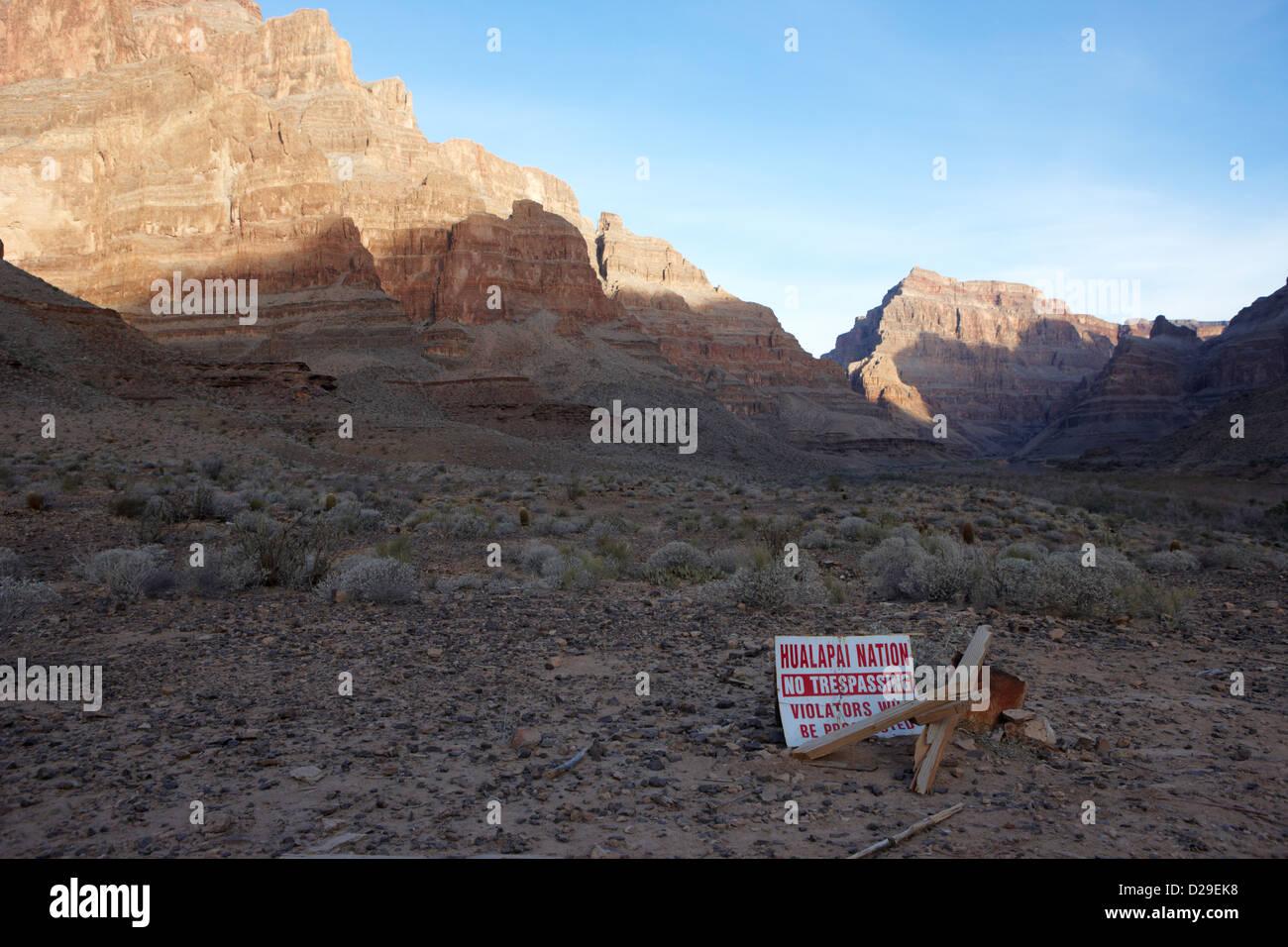 sign at the base of the grand canyon marking edge of the hualapai nation territory Arizona USA Stock Photo