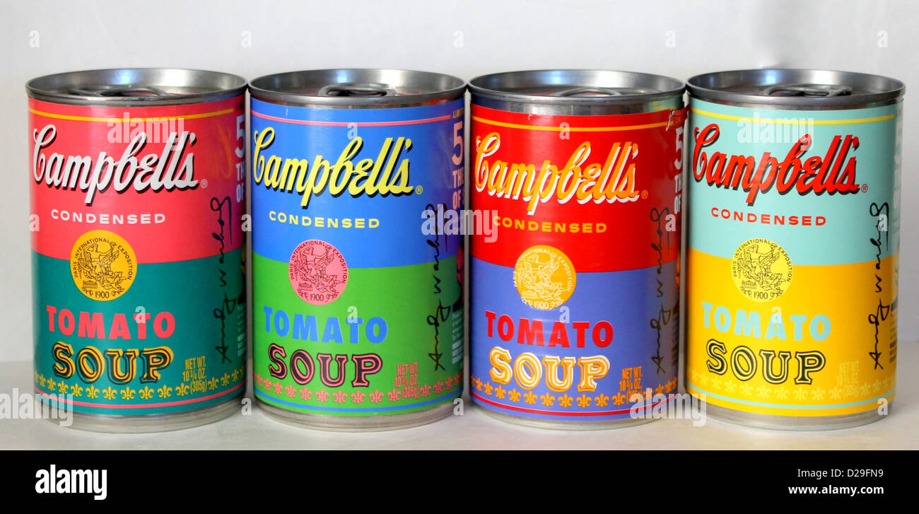 Campbell's soup cans (tins) with limited edition Andy Warhol Labels. - Stock Image