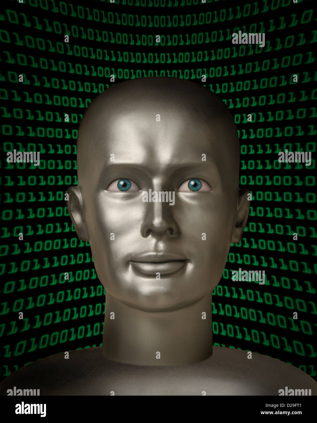 Robot android with human eyes in fr - Stock Image