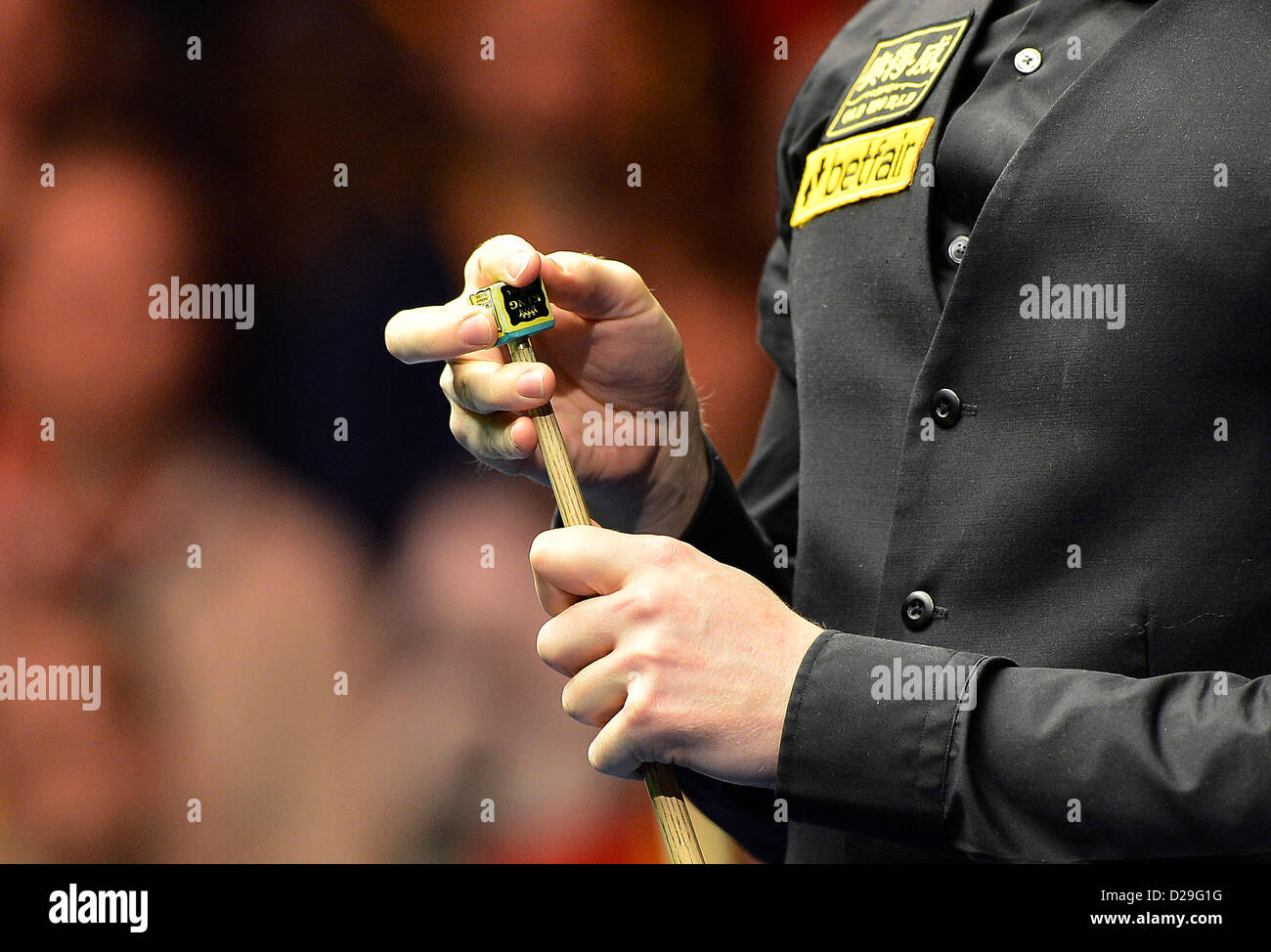 17.01.2013 London, England. Neil Robertson chalks his cue against Mark Allen during the Masters Snooker from Alexandra - Stock Image