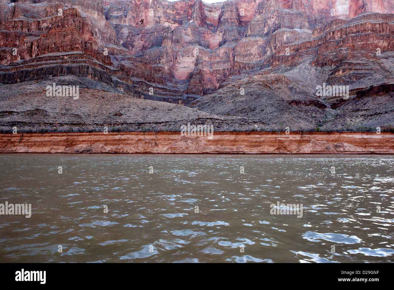 geologic details of rock strata and erosion on the wall of the grand canyon and colorado river Arizona USA - Stock Image