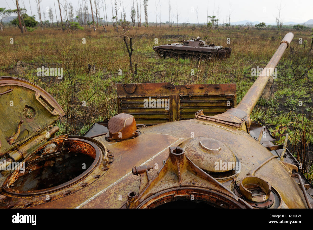 Africa ANGOLA old soviet tank from civil war between MPLA and UNITA near Quibala, some areas have still land mines - Stock Image