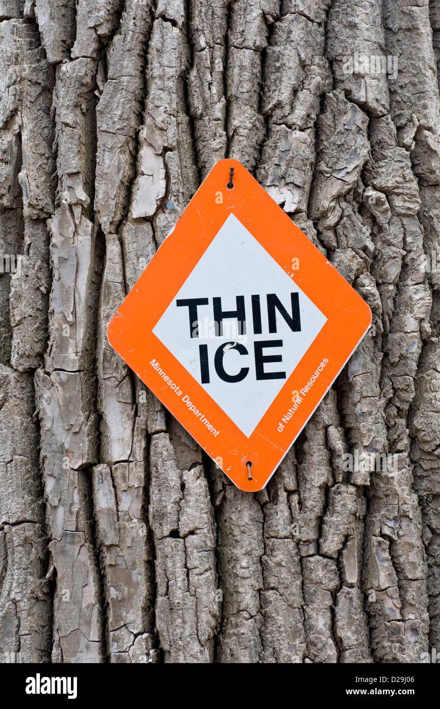 Thin ice sign - Stock Image