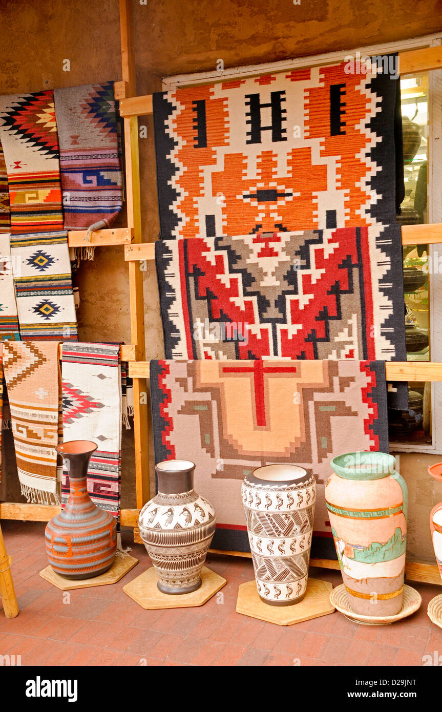 Jugs And Rugs, Santa Fe, New Mexico - Stock Image