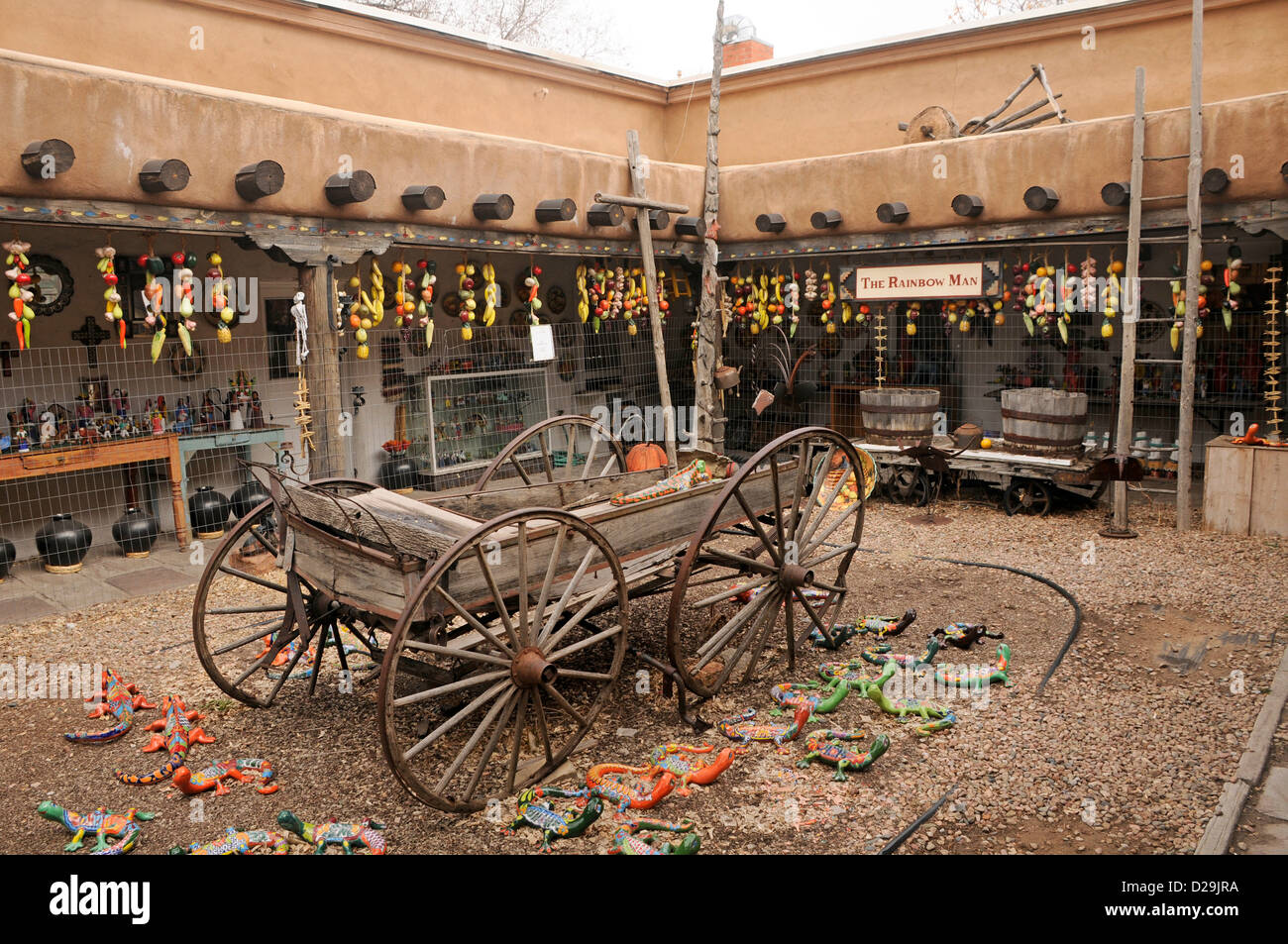 Old Wagon In Courtyard, Santa Fe, New Mexico - Stock Image