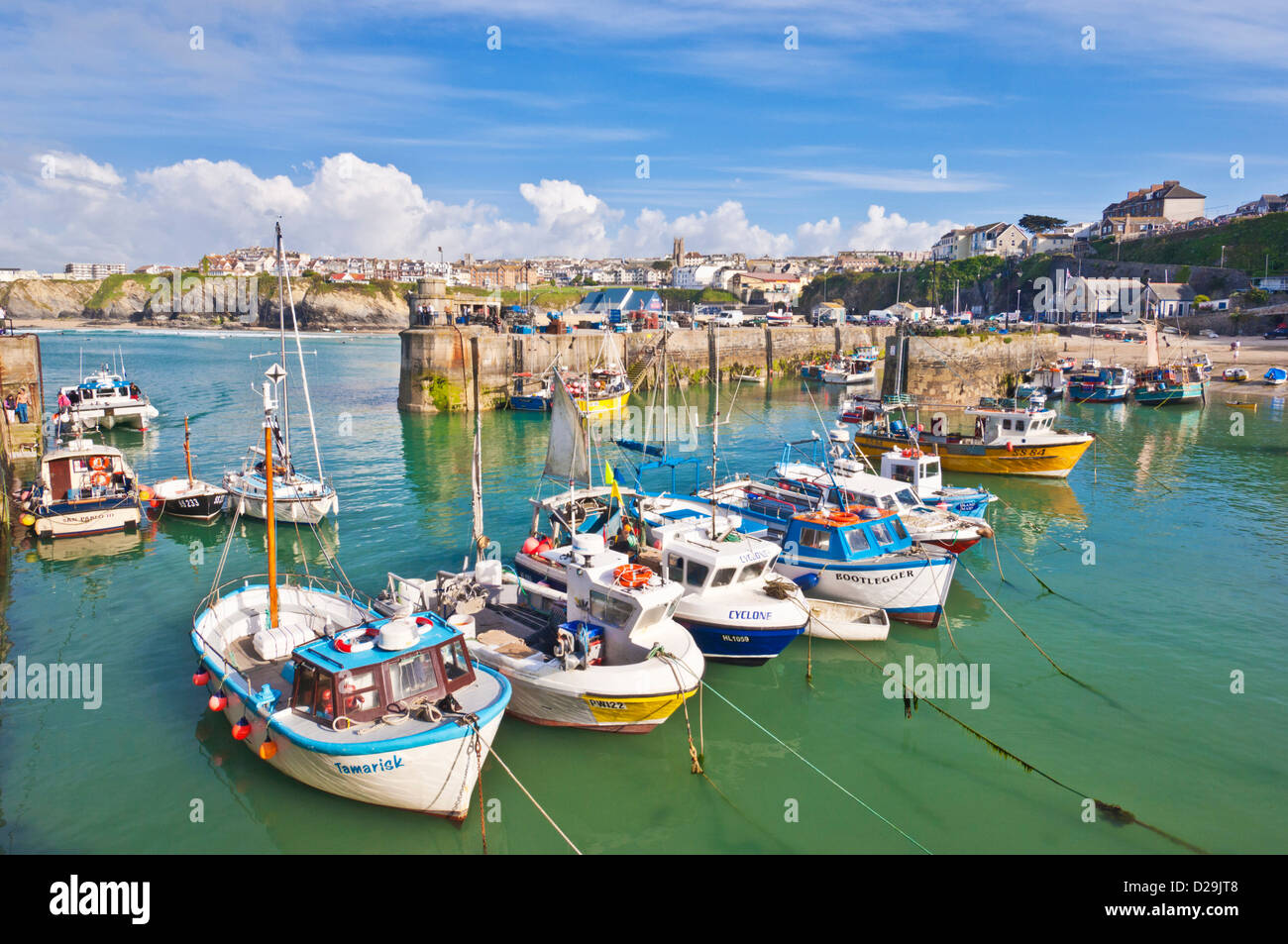 Fishing Boats moored in the harbour, Newquay, Cornwall, England, GB, UK, EU, Europe - Stock Image
