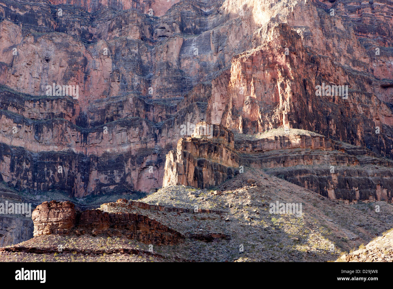 geologic details of rock strata on the wall of the grand canyon Arizona USA - Stock Image
