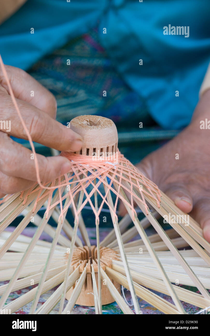 Production of wooden umbrella frame - Stock Image