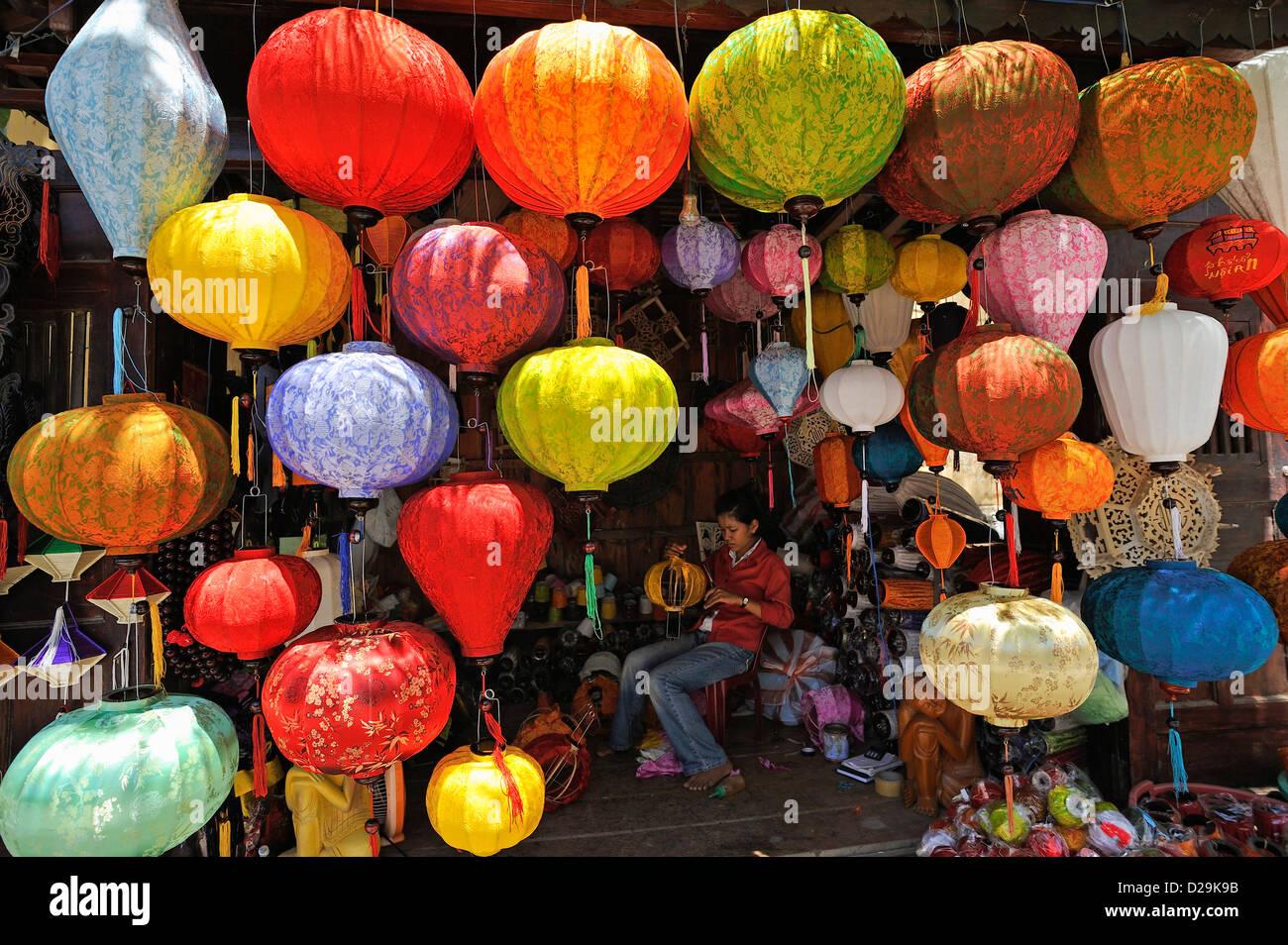 Lanterns hanging in shop, Hoi An, Vietnam - Stock Image