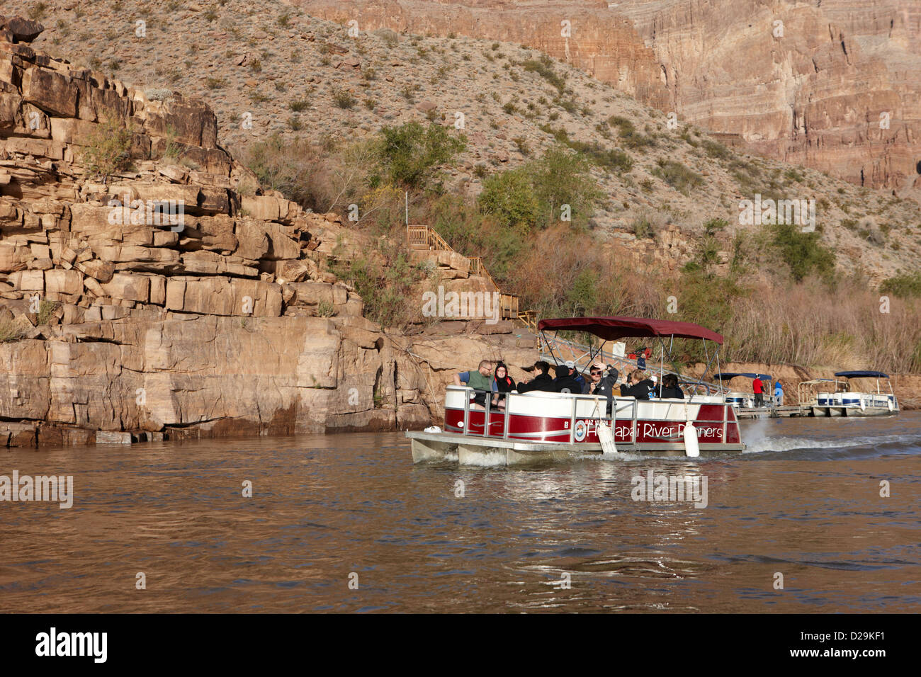 hualapai nation river tours on colorado river bottom of the grand canyon Arizona USA - Stock Image
