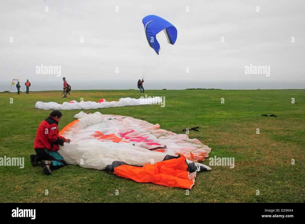 Hang Gliders, Lima, Peru - Stock Image