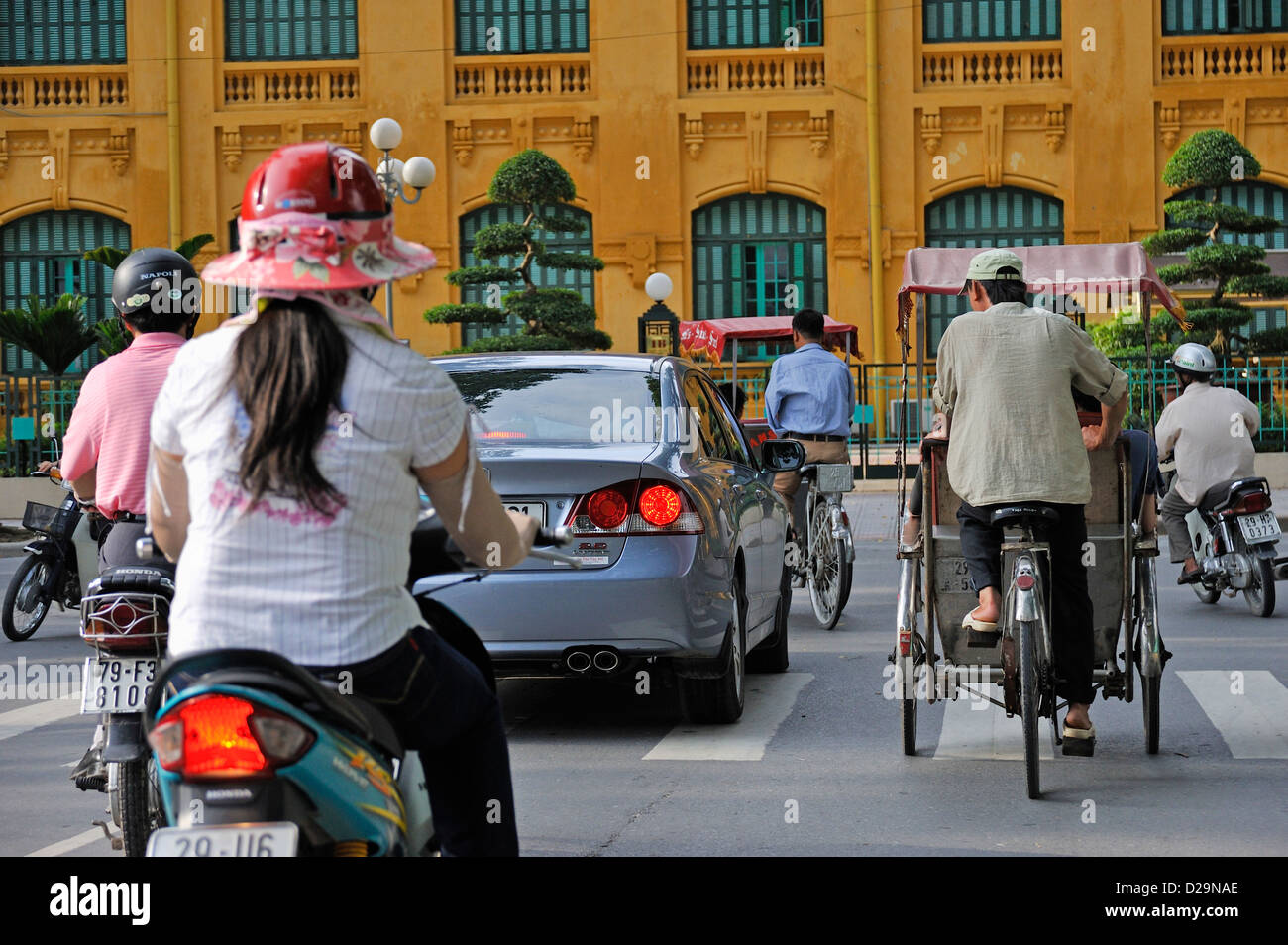 Traffic in downtown Hanoi, Vietnam - Stock Image