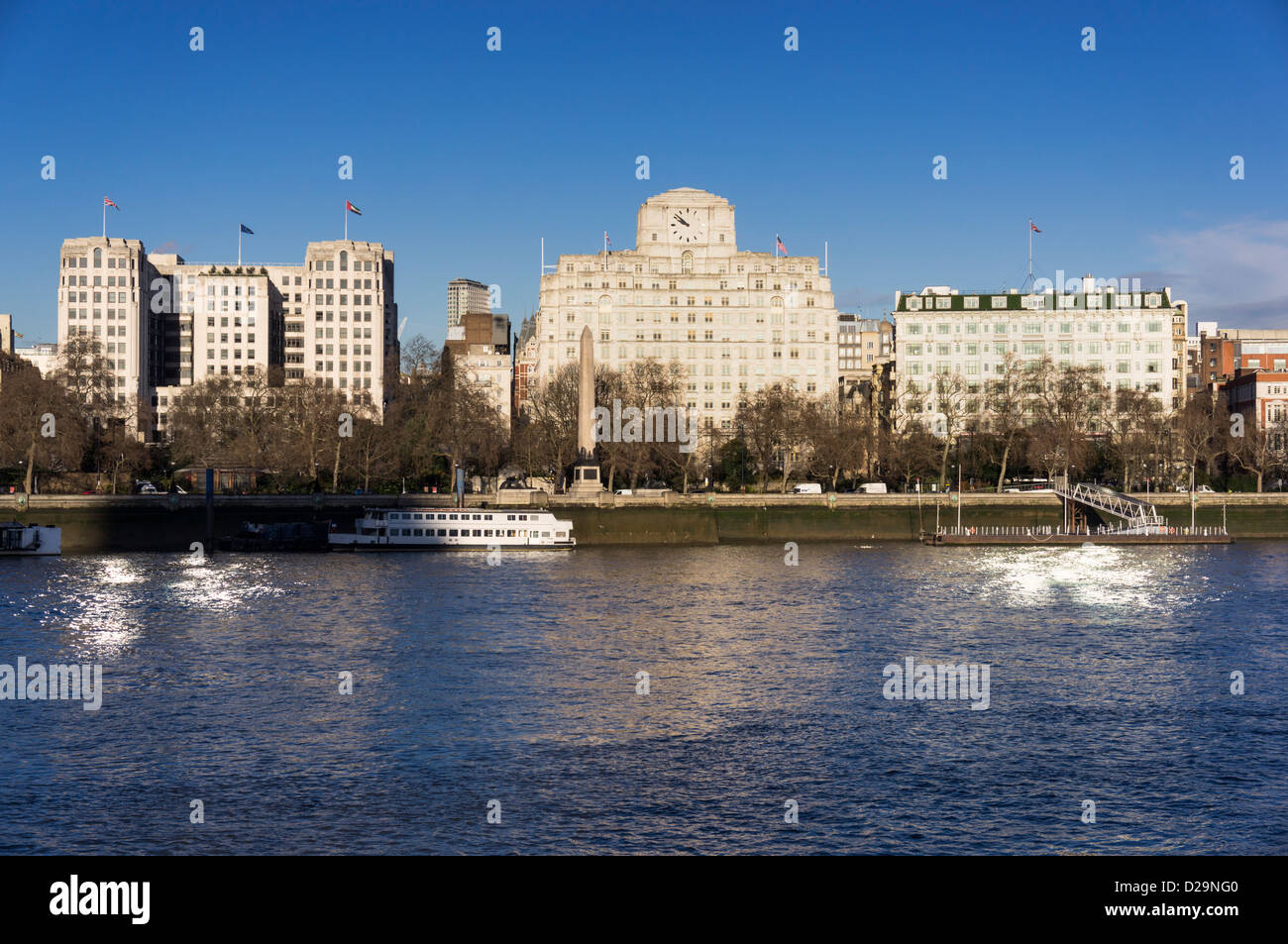 Embankment, London, UK - buildings L to R: The Adelphi, Shell Mex House and Savoy Hotel - Stock Image