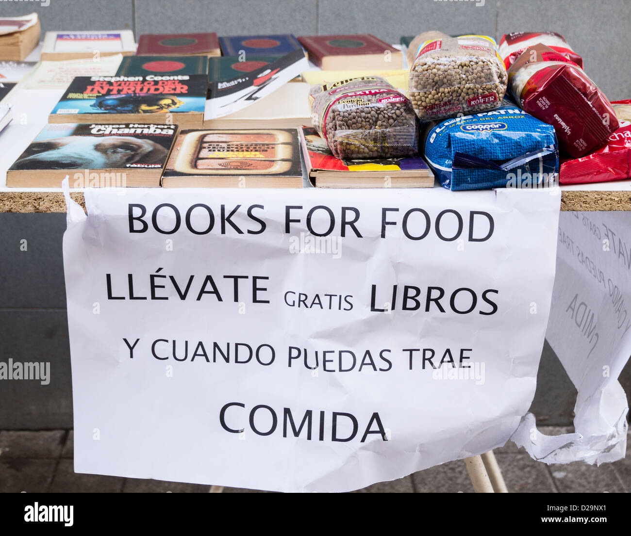 Local community anti austerity Books for Food campaign in Las Palmas, Gran Canaria, Canary Islands, Spain - Stock Image