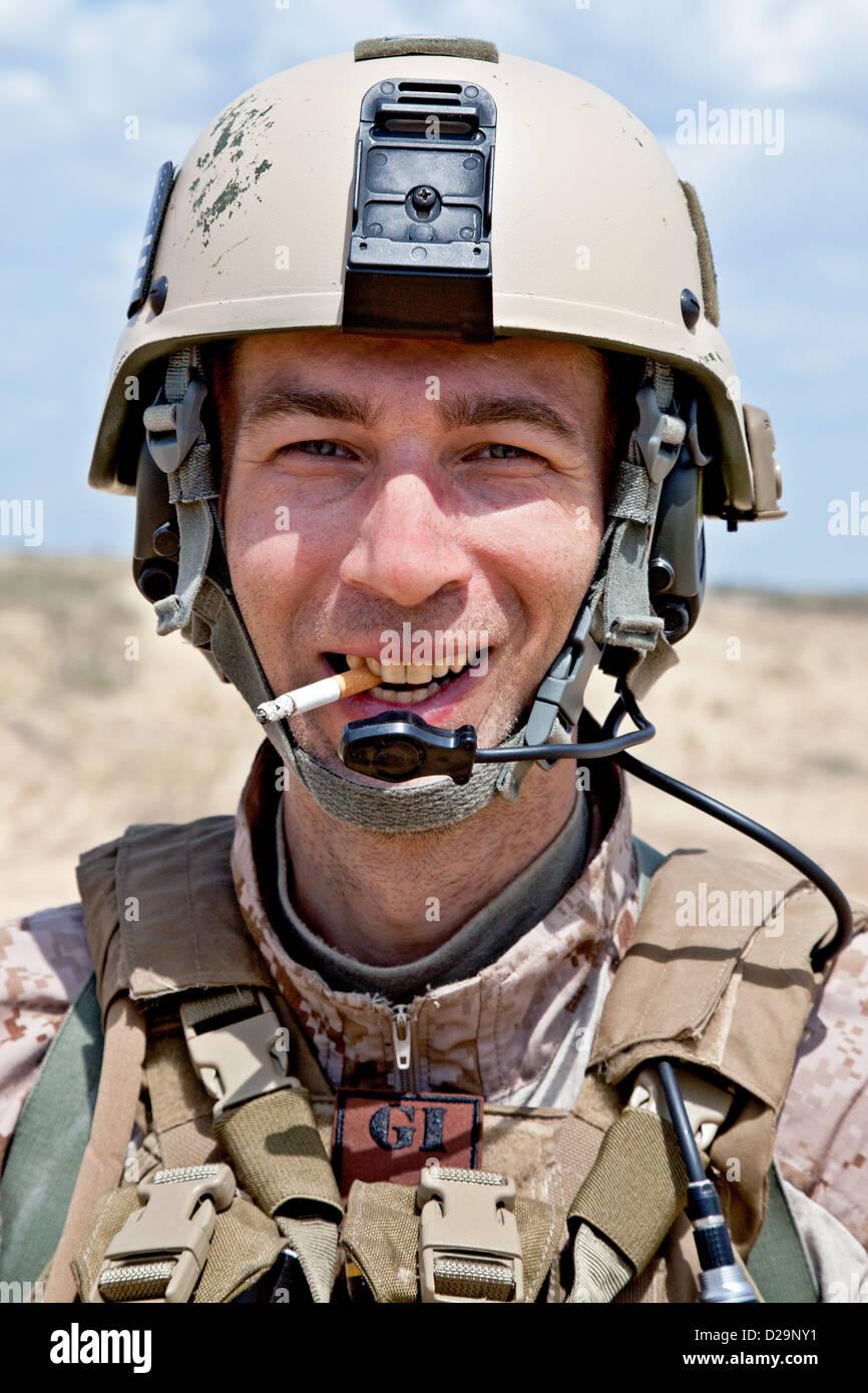 smoking soldier - Stock Image