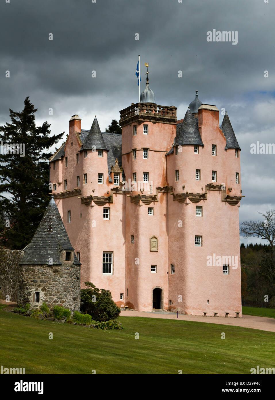 Baronial Craigievar Castle in Pink, Scotland, United Kingdom - Stock Image