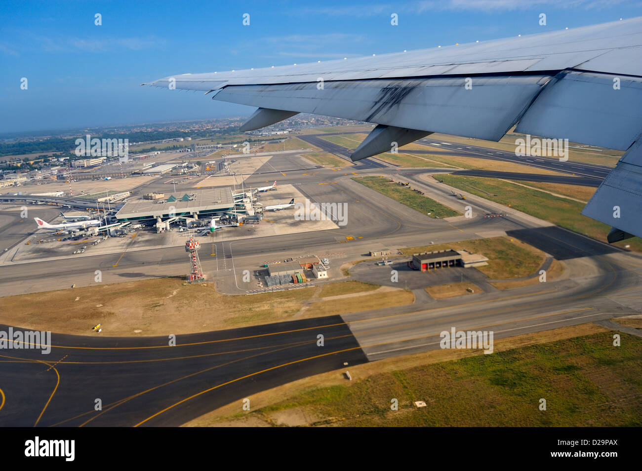 Rome airport, Italy from an aircraft - Stock Image