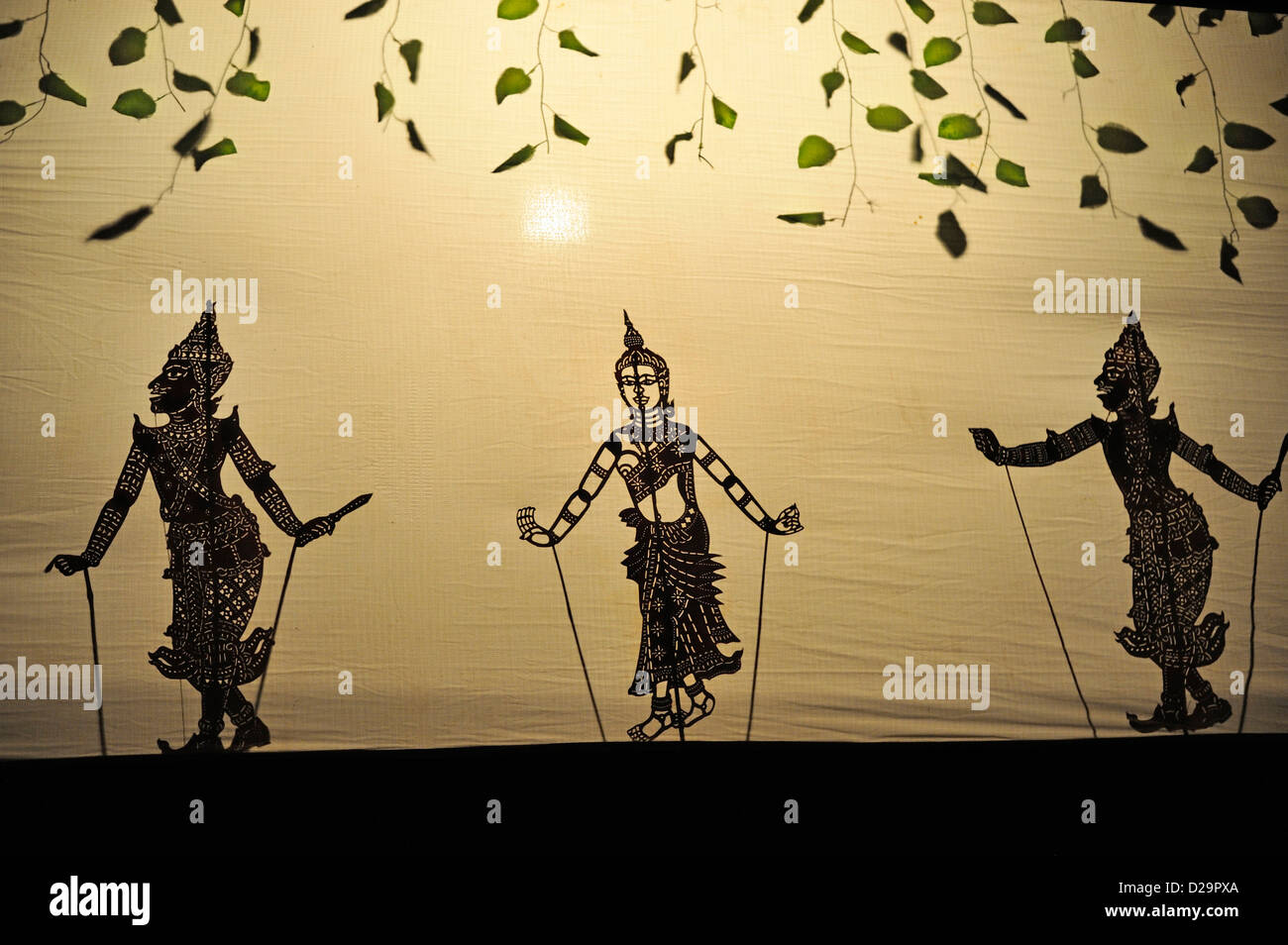 Traditional Cambodian marionette show / shadow puppets, Siem Reap, Cambodia - Stock Image