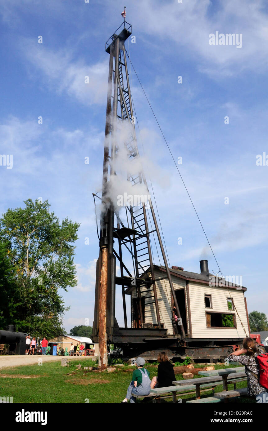 Steam-Driven Pile Driver. Wisconsin - Stock Image