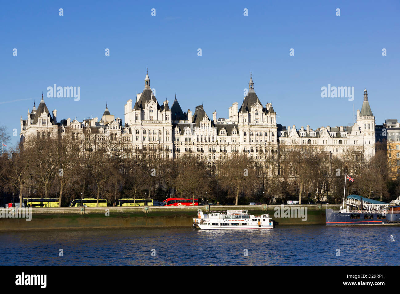 Whitehall Court building part of which is Royal Horseguards Hotel, Thames River, London, UK - Stock Image