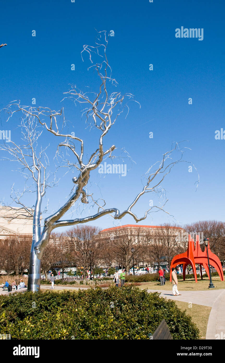 Washington D.C. National Gallery Art Sculpture Garden Stainless Steel Metal Tree Sculpture Graft Artist Roxy Paine - Stock Image