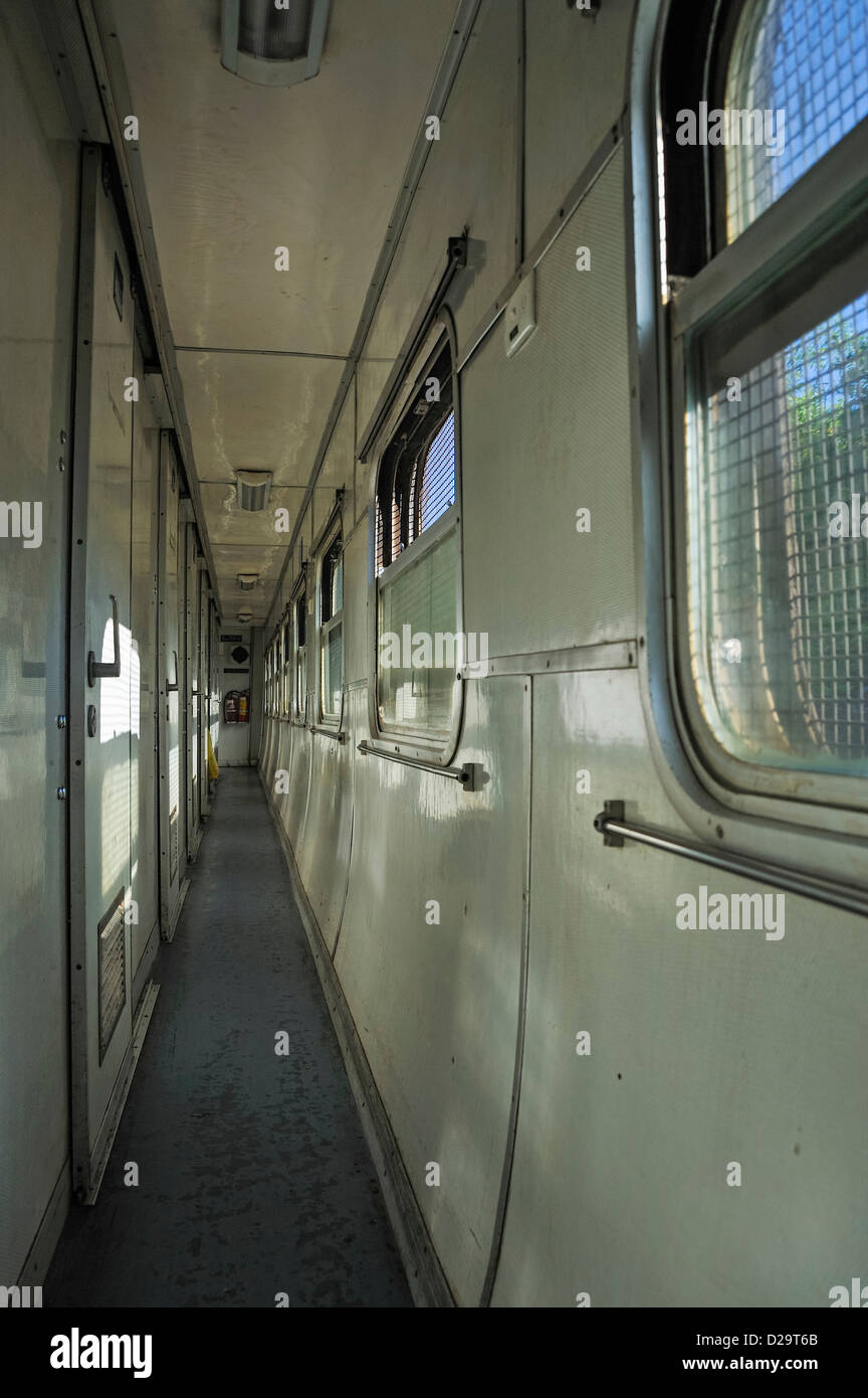 Corridor inside a train between Hanoi and Hue, Vietnam - Stock Image