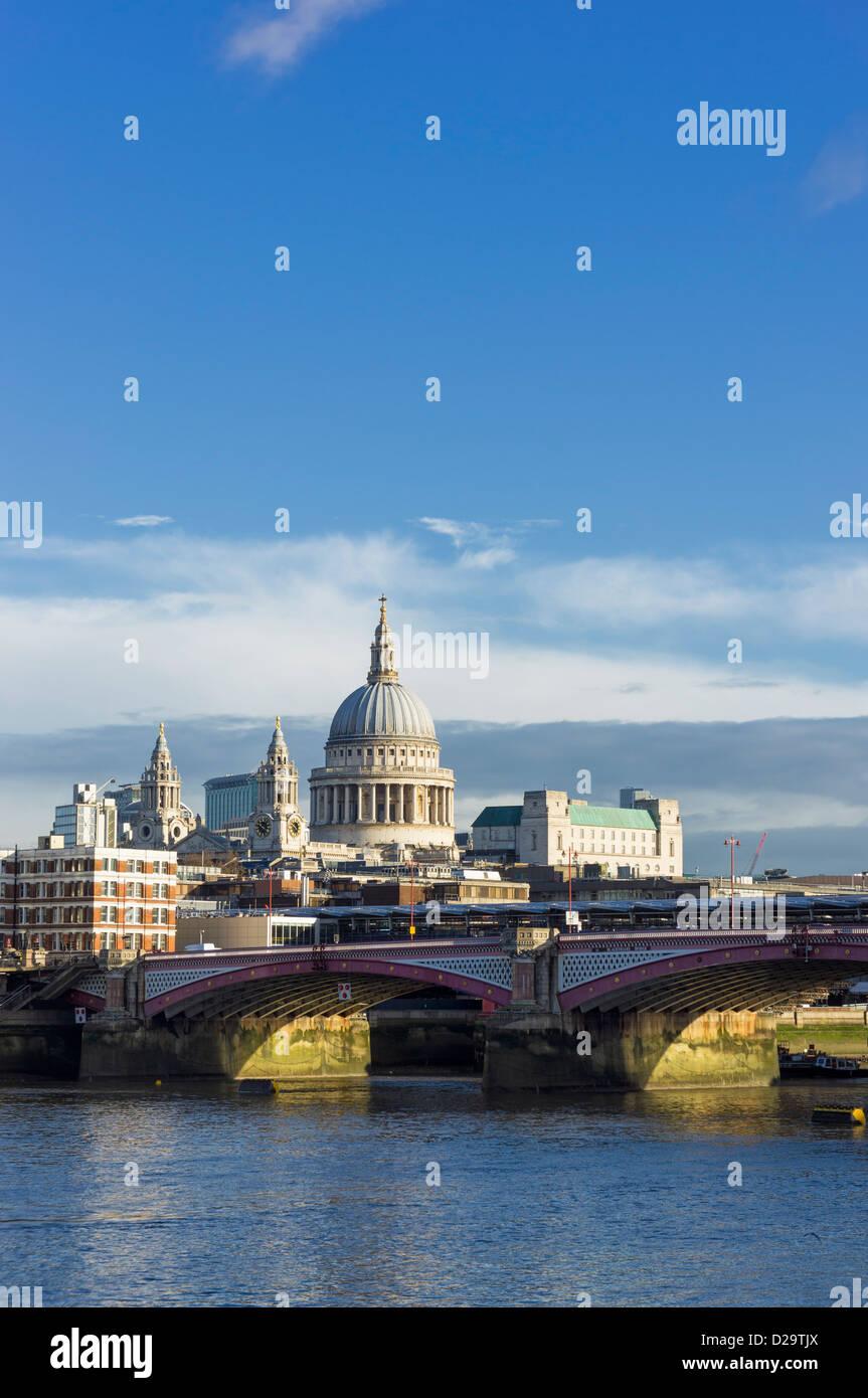 Blackfriars bridge and St Pauls Cathedral, London, UK - Stock Image