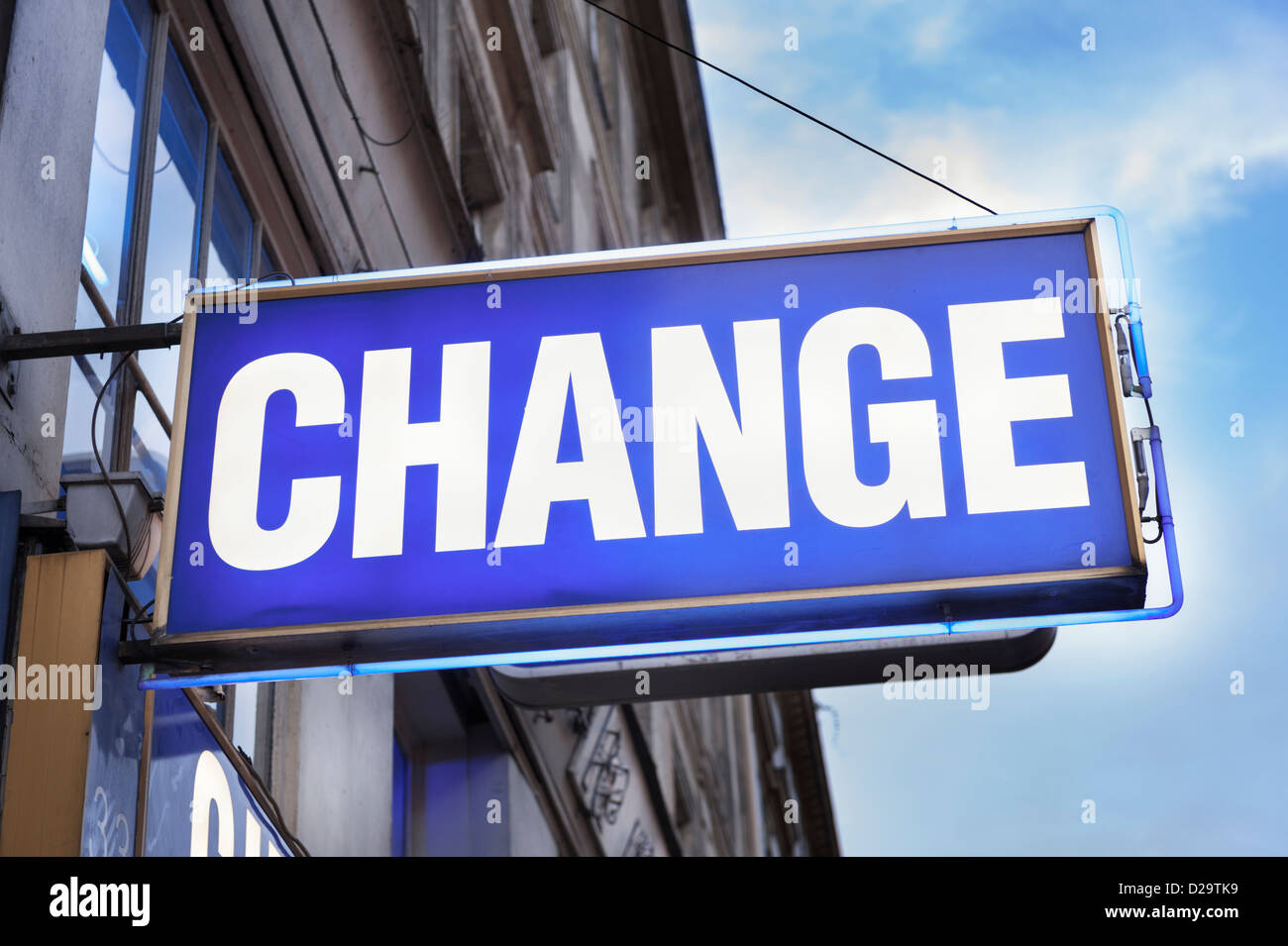Change - the sign for a bureau de change - Stock Image